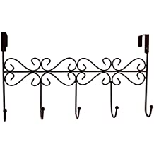 Obmwang Over The Door 5 Hook Rack   Decorative Organizer Hooks For Clothes,  Coat, Hat, Belt, Towels   Stylish Over Door Hanger For Home Or Office Use L  X W ...