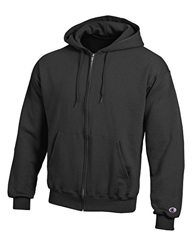 Champion Mens Double Dry Action Fleece Full Zip Hood Black - Thongs Champion