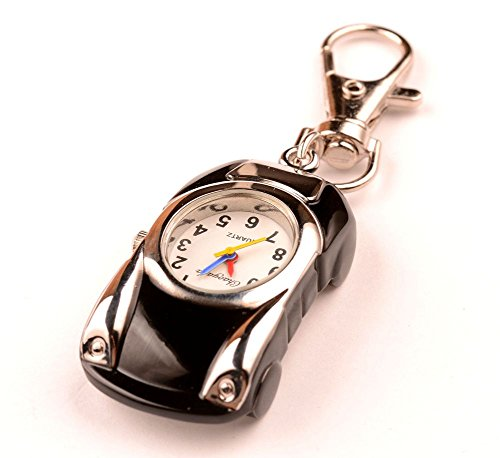 ZIMI New Cute Car design Key Ring Children's gift watch Keychain Pocket quartz watch (Car Keychain Watch Gift)