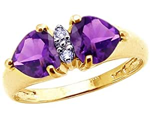 14K Yellow Gold Twin Heart Gemstone and Diamond Ring-Amethyst, size5