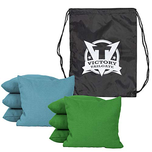 (Victory Tailgate 8 Colored Corn Filled Regulation Cornhole Bags with Drawstring Pack (4 Kelly Green, 4 Turquoise))