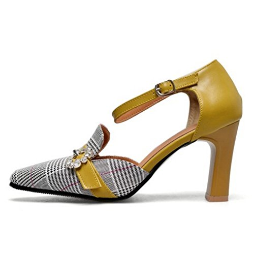 Sandales Strap Cheville Taoffen Bride Yellow Femmes Mode xqnI4waA