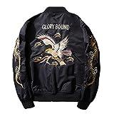 Henreiba Spring Autumn Men Jacket Streetwear Eagle Embroidery Japan Black Bomber Jacket