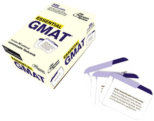Essential GMAT (flashcards): 500 Flashcards with Need-To-Know Topics, Terms, and Examples for GMAT Math and Verbal Subject Areas (Graduate School Test Preparation)