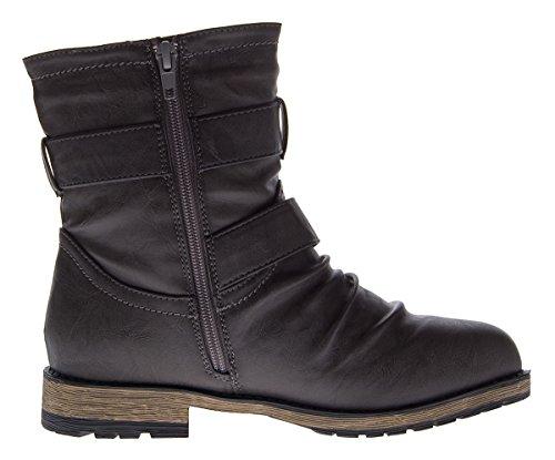 Damen Stiefeletten Knöchel Schuhe leicht gefüttert Herbst Winter Stiefel Grau Grau