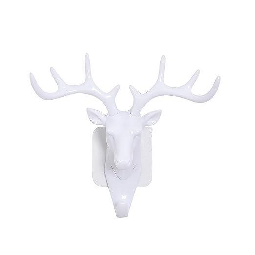 WINOMO Vintage Gancho de Pared Cuernos de Ciervo para Colgar Decoración de la Pared (Blanco)
