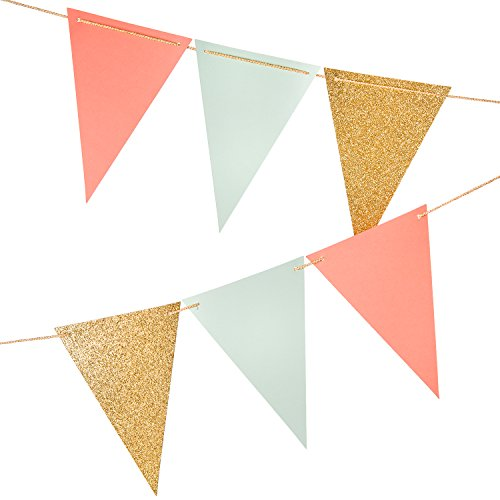 10 Feet Paper Triangle Banner Flags,Gold Glitter+Coral Pink+Mint Green,Vintage Style Pennant Banner For Wall Decor, Wedding Garland, Birthday Party, Baby Shower,15 Pcs (Christmas Banister Garland)