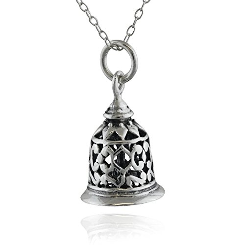 (Sterling Silver 3D Filigree Working Hand Bell Charm Necklace, 18