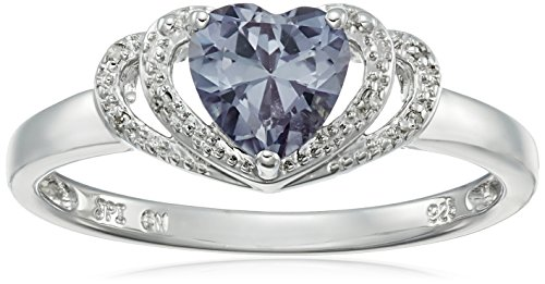 Sterling Silver Created-Alexandrite and Diamond Accent Open Halo Heart Ring, Size 6