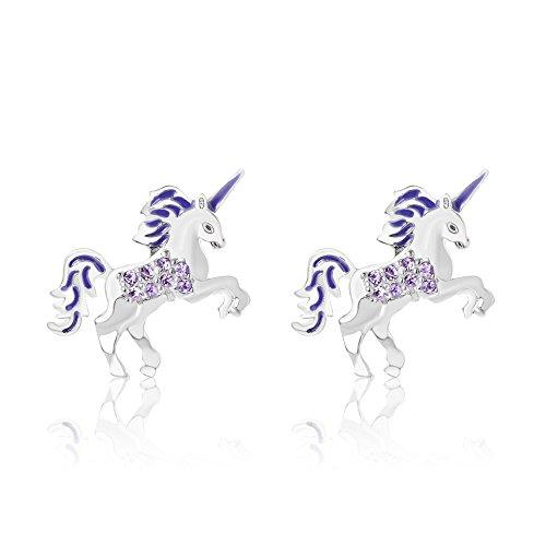 Chanteur Premium 9MM Crystal Unicorn Screwback Kids Baby Girl Teen Earrings with Swarovski Elements, White Gold Tone for Children ()