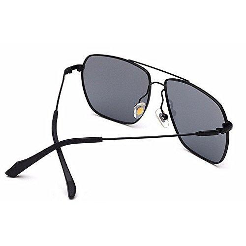 de conducción de gafas de metal diseñador Novedad Color padre gafas de del día forma los de Marco la sol tonos sol cuadrada vendimia del regalo Brillantes de Negro Negro hombres Protección UV de w7twRxngq