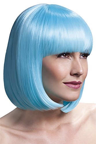Fever Women's Sleek Neon Aqua Bob with Bangs, 13inch, One Size, (Thing One And Thing Two Sexy Costumes)