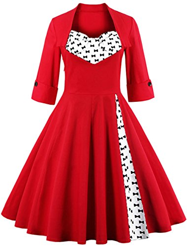 Ouhuang Modest Halloween Costumes 1950s Inspired Vintage Dress -