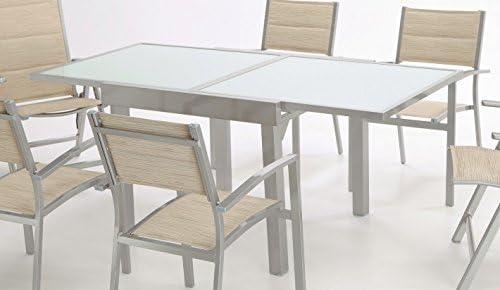 Almargarden Mesa de terraza extensible aluminio gris Sera 90 ...