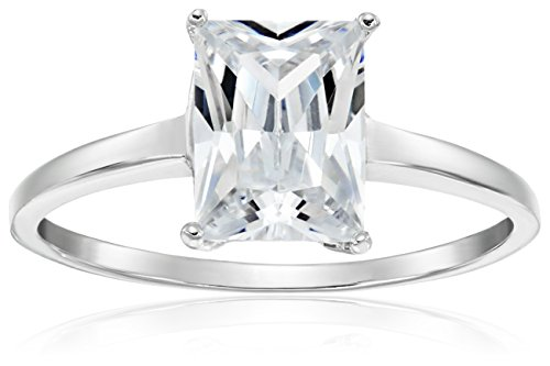 [Sterling Silver Radiant Emerald Cut Cubic Zirconia Engagement Ring, Size 7] (Emerald Cut Cubic Zirconia Ring)