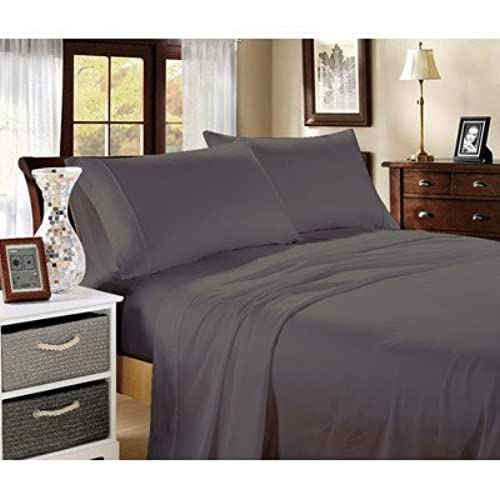 Delightful The Great American Store 1800 Series Brushed Microfiber 4 PC Sateen Queen Sheet  Set   Elephant Grey Solid By