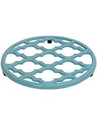 Home Basics Lattice Collection Cast Iron Pot Holder Trivet (Turquoise)