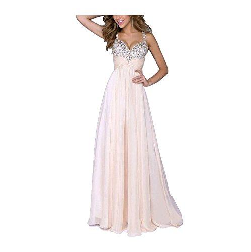 Sequins Pink Dress Dress Neck Elegant Lingjiu Formal V Evening Chiffon Wedding Cocktail Formal Long Women OFHw1q