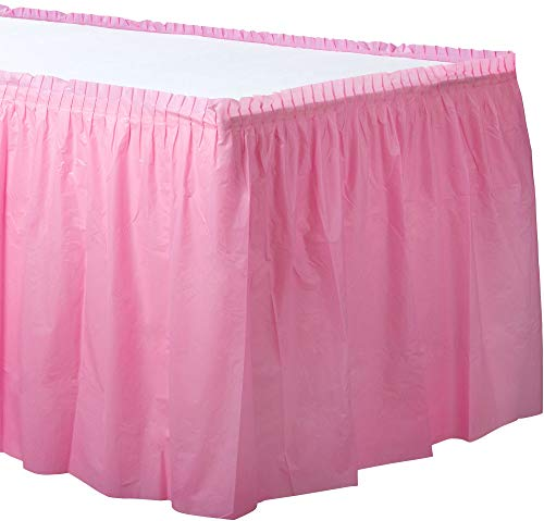 New Pink Plastic Table Skirt | Party Tableware ()