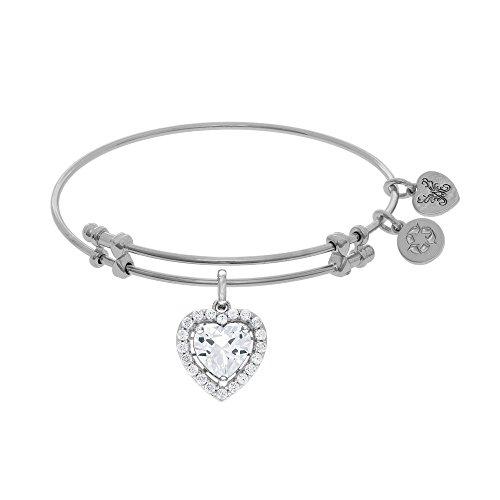 JewelryWeb Brass with White Finish Adjustable Heart Angelica Bangle Bracelet