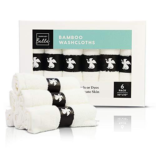 Organic Bamboo Baby Washcloths – 6 x Soft Hypoallergenic Wash-Cloths 10x10 inch