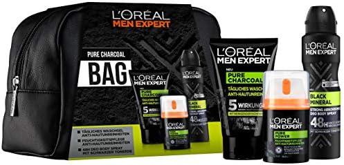 LOréal Men Expert Pure Charcoal Bag, set de regalo, para hombres, bolsa de aseo gratis, gel de lavado (100 ml), cuidado hidratante 24H (50 ml) y desodorante antitranspirante 48H (150 ml): Amazon.es: