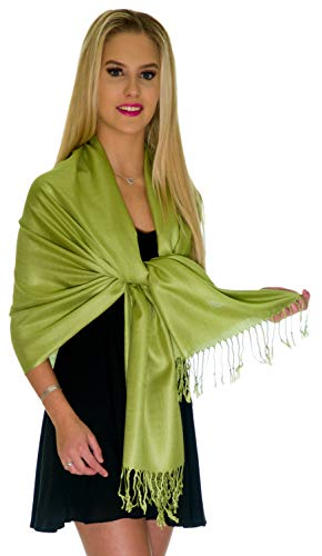 Pashmina Shawls and Wraps - Large Scarfs for Women - Party Bridal Long Fashion Shawl Wrap with Fringe Petal Rose (Sweet Pea Green)