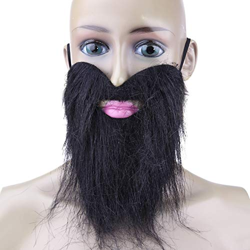 Cacys-Store - Fashion Funny Costume Party Male Man Halloween Beard Facial Hair Disguise Game Black Mustache Stick-on Tash Whiskers