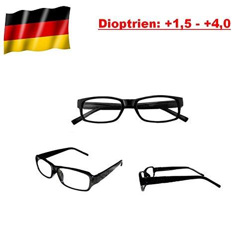 GiXa Mann und Frau Lesebrille mit Stärke +1,5 +2 +2,5 +3 +3,5 +4 Dioptrien / dpt Lese Brille Sehhilfe Lesehilfe Sehstärke Glas Stärke Schwarz (Stärke +4)