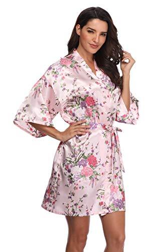 Women's Floral Bride Bridesmaids Robe Satin Wedding Kimono Bridal Dressing Gown Sleepwear, Pink, Small/Medium