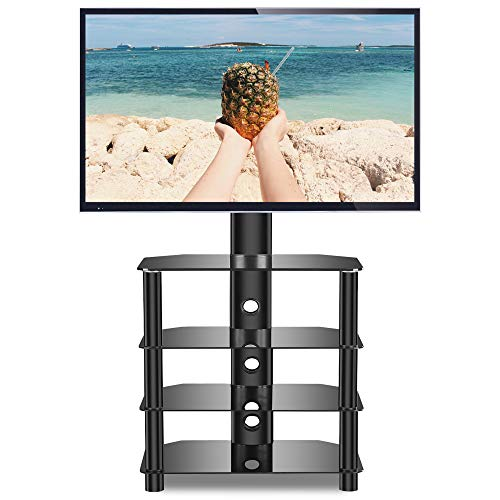 Rfiver Universal Swivel Floor tv Stand with 4-Tiers Glass Audio Shelves for 32