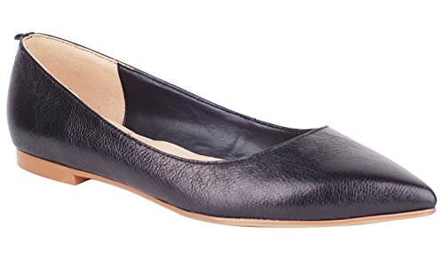 queenfoot Pump6002 - Mocasines de Piel para mujer A-Black leather