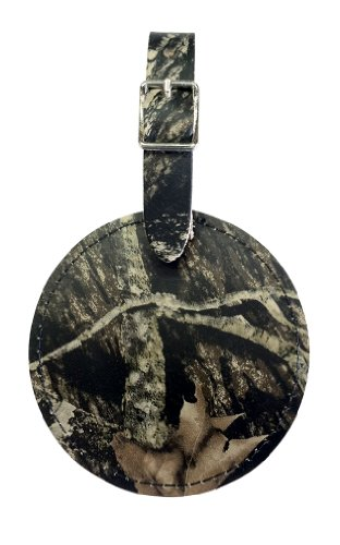 Round Full Grain Leather Golf Bag Tag (Full Mossy Oak) (Bag Round Leather Tags)