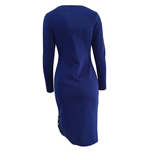 de manga Azul ajustados Mini Vestidos larga ajustado para irregulares mujer hibote vestido AP8qSX80