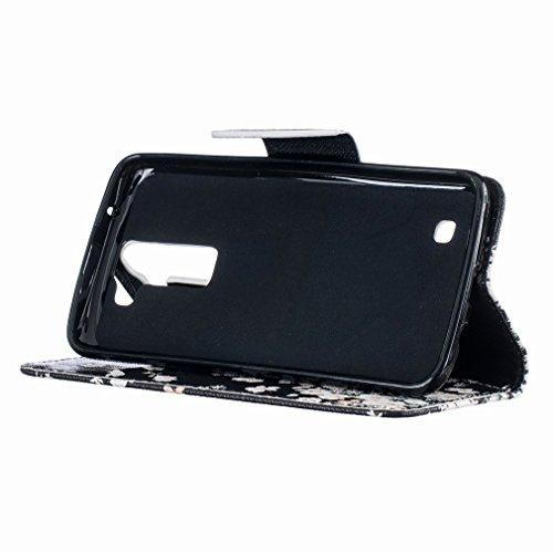 Yiizy LG K7 X210 MS330 LG Tribute 5 LS675 Funda, Blanco Flor Que Agita Diseño Solapa Flip Billetera Carcasa Tapa Estuches Premium PU Cuero Cover Cáscara Bumper Protector Slim Piel Shell Case Stand Ran