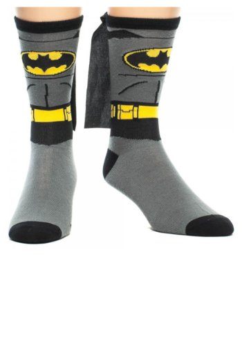 [DC Comics Batman Costume Crew Sock with Cape OS Grey] (Baseball Bat Man Costume)