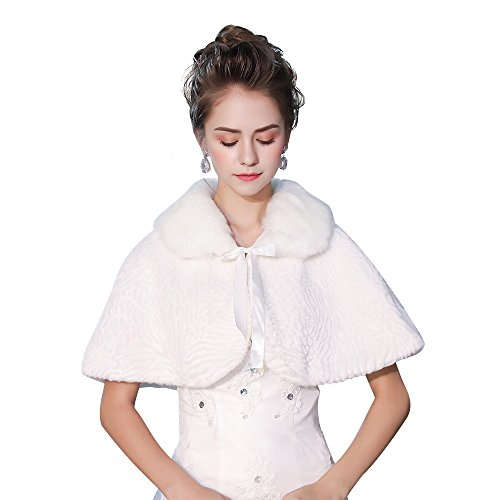 Kanrome Short Cape Wrap White Faux Fur Ribbon Lace-Up Shawl Stole by Kanrome