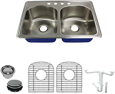 Transolid K-Mtdd33229-4 Sink 33-in x 22-in x 9-in Brushed Stainless Steel