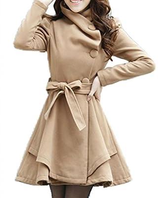 Wantdo Women's Fold-Collar Tie Front Wool-like Coats with Skirted Hem