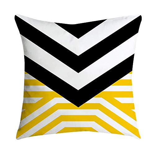 Chenway Painting Pineapple Leaf Yellow Pillow Covers,Printing Geometric Throw Pillowcases Sofa Waist Throw Cushion for Upholstery Car Couch Home Decor 18 x 18 Inch (Style E)