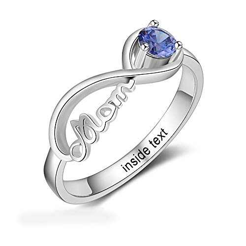 Personalized Mom Jewelry with Simulated Birthstone Infinity Family Cubic Zirconia Ring for Mother (8) (Mother Child Ring)