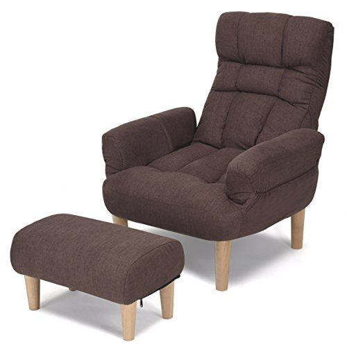 Giantex Lazy Sofa Chair with Footstool Living Room Armchair Adjustable Backrest Headrest Wood Legs Padded Seat