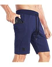 BROKIG Mens Stitching Athletic Shorts Sport Workout Short for Men with Zip Pockets