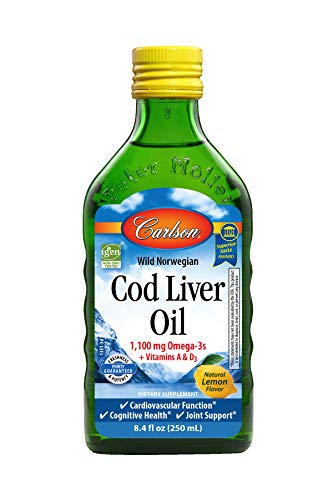 Carlson - Cod Liver Oil, 1100 mg Omega-3s, Norwegian, Sustainably Sourced, Unflavored, 250 ml