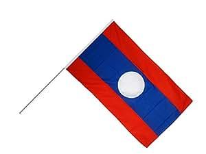 Bastón Bandera/Stock + Gratis Pegatinas, Flaggenfritze–Bandera de Laos, Große Stockflagge 60 x 90 cm