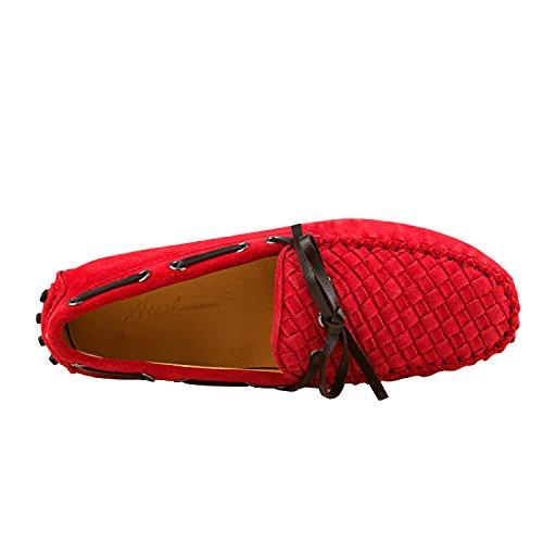 ShenDuo Damen Mokassins Leder Ballerinas Driving Schuhe Casual Slipper D7058 Rot