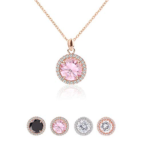 - Jardme Rose Gold Adjustable CZ Chain Round Pendant Necklace with A Gift Bag (Pink)