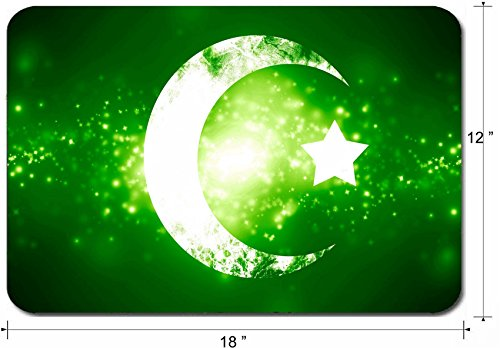 Some Sparkle - Liili Large Mouse Pad XL Extended Non-Slip Rubber Extra Large Gaming Mousepad, 3mm thick Desk Mat 18x12 Inch IMAGE ID: 22999742 islam sign on a fresh green background with some glitters and sparkles