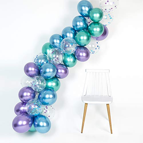 Mermaid Party Supplies Metallic Balloons Arch Kit 50Pcs Thicker Balloon for Birthday Bridal Shower Baby Shower Under The Sea Chrome Blue Confetti Purple Green Color]()