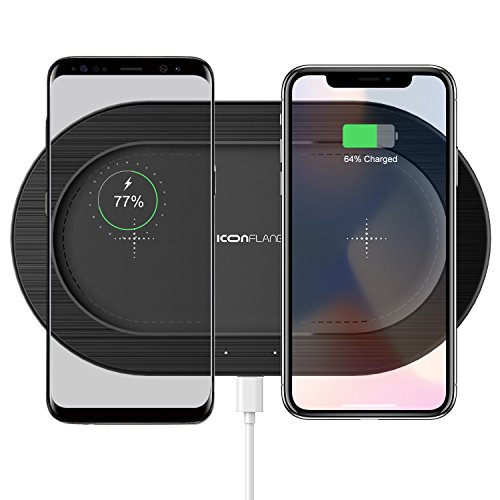 r Pad,ICONFLANG Qi Double Wireless Charger Pad for iPhone 8 iPhone 8 Plus iPhone X Samsung Note8 S8 S8+ S7 S7 Edge S6 S6 Edge QC2.0/3.0 Adapter Required - Black ()